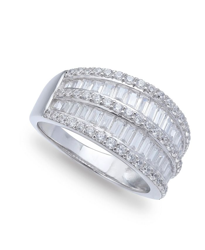 Macy's - Cubic Zirconia Pave Baguette Ring (2-1/8 ct.t.w) in Sterling Silver