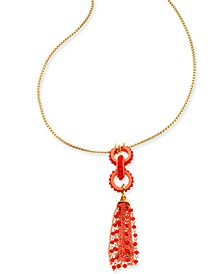 "INC Gold-Tone Bead & Tassel Pendant Necklace, 32"" + 3"" extender, Created for Macy's"