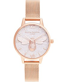 Women's Lucky Bee Rose Gold-Tone Stainless Steel Mesh Bracelet Watch 30mm