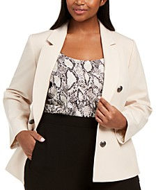 Trendy Plus Size Bi-Stretch Faux Double-Breasted Blazer, Created For Macy's