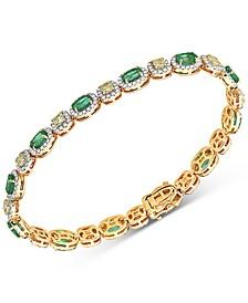 Emerald (4-1/2 ct. t.w.), White Diamond (1-7/8 c.t. t.w.), Yellow Diamond (2-7/8 c.t. t.w.) Bracelet in 14k Gold