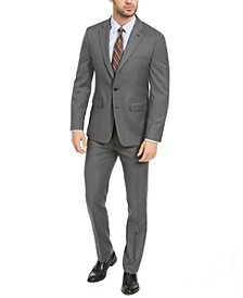 Men's Slim-Fit Medium Gray Sharkskin Suit
