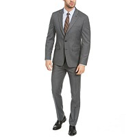Deals on Van Heusen Mens Slim-Fit Medium Gray Sharkskin Suit