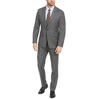 Van Heusen Men's Slim-Fit Medium Gray Sharkskin Suit