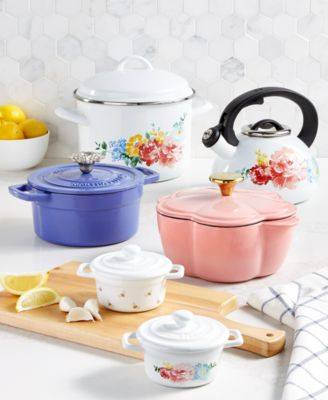 2-Qt. Enameled Cast Iron Round Dutch Oven with Flower Finial, Created For Macy's
