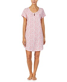 Printed Ruffle-Trim Nightgown