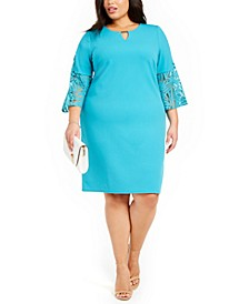 Plus Size Bell-Sleeve Sheath Dress, Created for Macy's