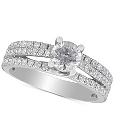 Diamond Three-Row Engagement Ring (1-1/2 ct. t.w.) in 14k White Gold