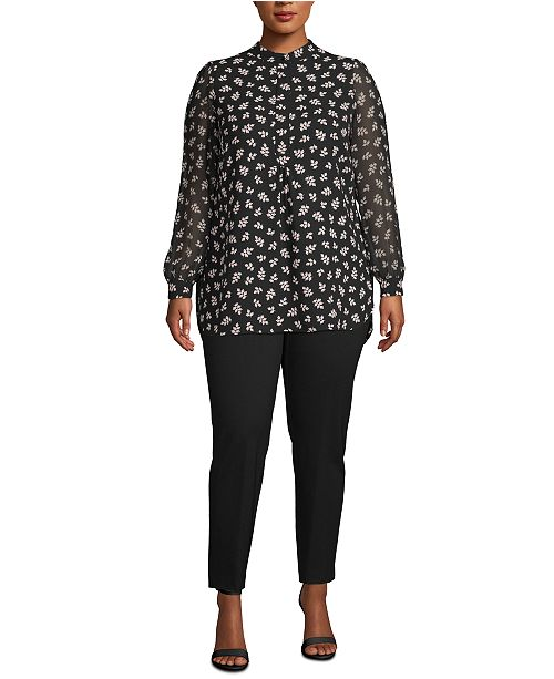 Anne Klein Plus Size Cottage Ivy Sheer-Sleeve Tunic
