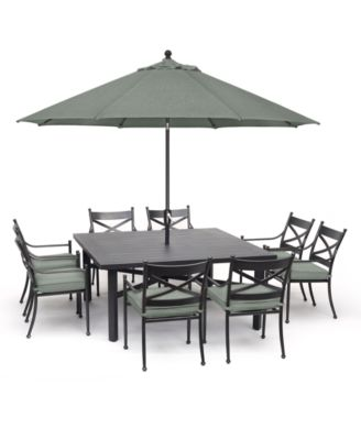 """Montclaire Outdoor Aluminum 9-Pc. Dining Set (64"""" X 64"""" Table & 8 Dining Chairs) With Sunbrella® Cushions, Created for Macy's"""