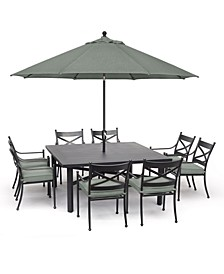 "Montclaire Outdoor Aluminum 9-Pc. Dining Set (64"" X 64"" Table & 8 Dining Chairs) With Sunbrella® Cushions, Created for Macy's"