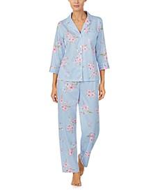Petite Sateen Printed Pajama Set
