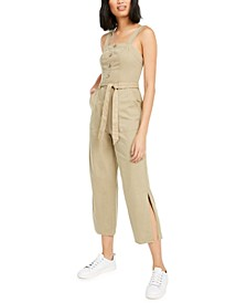 Smocked Sleeveless Cotton Jumpsuit