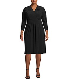 Plus Size Surplice-Neck Fit & Flare Dress