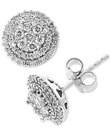 EFFY® Diamond Halo Cluster Stud Earrings (1/2 ct. t.w.) in 14k White Gold
