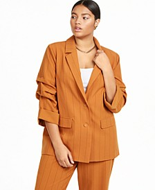 Plus Size Blazer with Ruched Sleeves, Created for Macy's