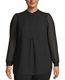 Plus Size Sheer-Sleeve Tunic