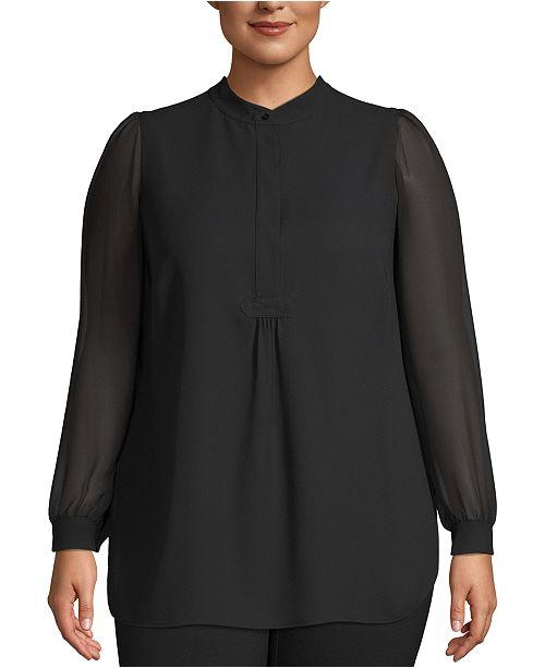Anne Klein Plus Size Sheer-Sleeve Tunic