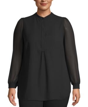 Anne Klein Plus Size Sheer-sleeve Tunic In Anne Black