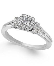 Diamond Square Halo Engagement Ring (1/4 ct. t.w.) in 14k White Gold