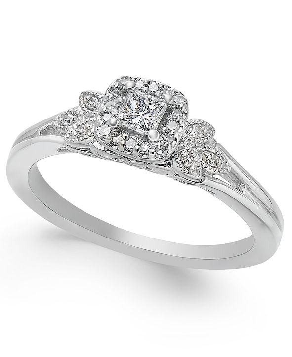 Macy's Diamond Square Halo Engagement Ring (1/4 ct. t.w.) in 14k White Gold