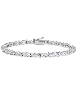 23 Ct Blue Sapphire CZ Tennis Bracelet Women Jewelry Gift 18K White Gold Plated