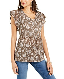 Printed Mesh Flutter-Sleeve Top, Created for Macy's