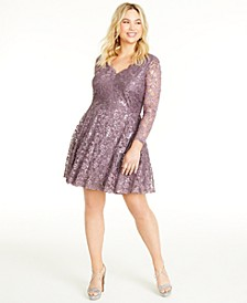 Trendy Plus Size Long-Sleeve Sequin & Lace Dress