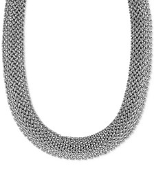 "Diamond Woven-Look Wide 18"" Statement Necklace in Sterling Silver"