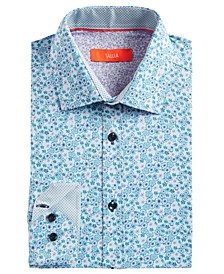 Men's Slim-Fit Mini-Floral Graphic Dress Shirt