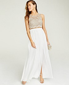 Juniors' Lace Top & Long Wrap Skirt