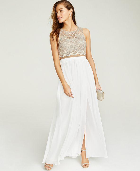 City Studios Juniors' Lace Top & Long Wrap Skirt