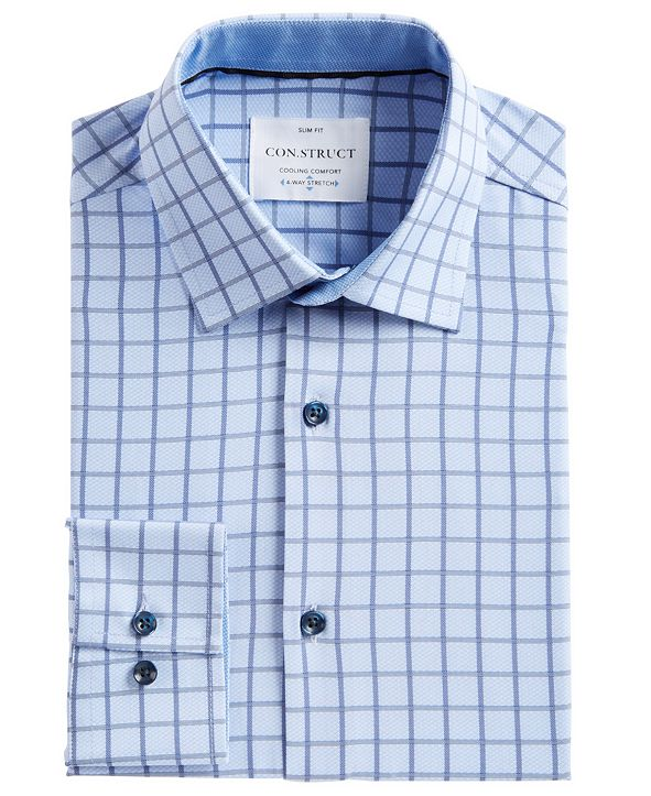 ConStruct Men's Slim-Fit Box-Check Performance Stretch Cooling Comfort Dress Shirt