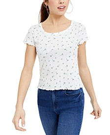 Juniors' Printed Pointelle-Knit T-Shirt