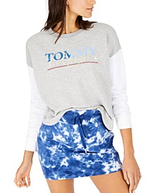 Logo-Print Contrast-Sleeve Top, Created for Macy's