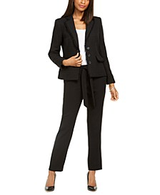 Paris 3-Button Tweed Jacket With Belt And Straight-Leg Dress Pants