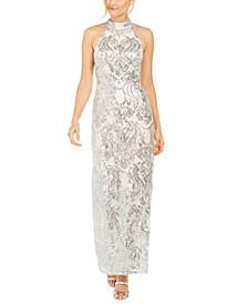 Sequined Halter Gown