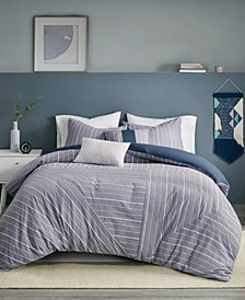 Bergen Stripe 5-Piece Full/Queen Duvet Cover Set