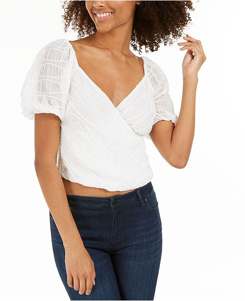 Lucy Paris Textured Faux-Wrap Top