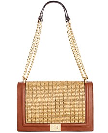 INC Ajae Flap Straw Crossbody, Created for Macy's