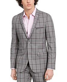 Men's Dover Slim-Fit Light Gray & Pink Plaid Blazer