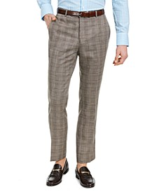 Men's Dover Slim-Fit Tan & Blue Plaid Dress Pants