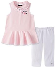 Baby Girls 2-Pc. Printed Piqué Tunic &  Leggings Set