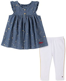 Baby Girls 2-Pc. Star-Print Chambray Tunic & Leggings Set