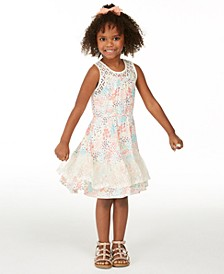 Little Girls Crochet Floral-Print Dress, Created for Macy's