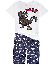 Little Boys 2-Pc. Roar Tufted-Chenille T-Shirt & Dino-Print Shorts Set, Created for Macy's