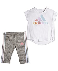Toddler Girls Rainbow Logo Top & Iridescent Leggings Set