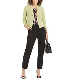 Kiss-Front Blazer, Floral-Print Top & Textured Pants