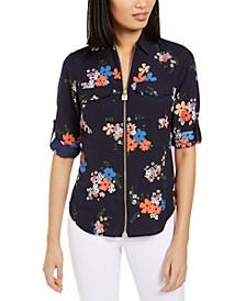 Floral-Print Utility Shirt, Regular & Petite