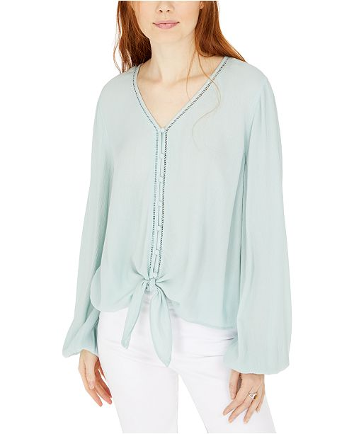 Hippie Rose Textured Tie-Hem Blouse